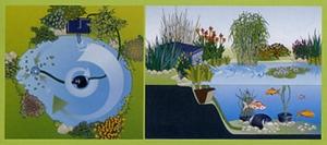 את הפילטר נתקין ליד המשאבה,בחלק העמוק של הבריכה,מוסתר בין הצמחים