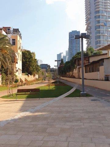 משמאל-עצים ותיקים שנשמרו, החומה והאומנות ההיסטורית
