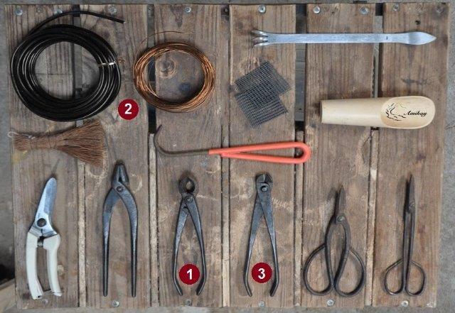 כלי עבודה ועזרים שונים לבונסאי 1.קונקייב 2.חוטי ליפוף 3.כלי להסרת חוטים Wire Cutter
