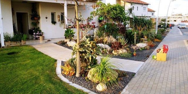 הגינה הפרטית של נחשול, שילוב בין סלע מקומי, סוקולנטים וחיפוי