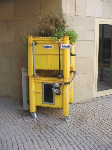 מערכת לטיהור מים ,בחלק העליון צמחים שמטהרים את המים ובחלק התחתון המיכל לאיסוף המים