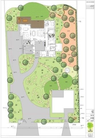 סקיצה של תוכנית הגינה